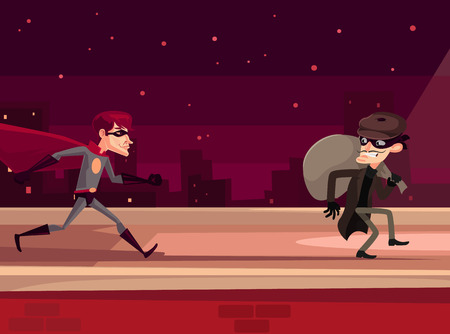 caught: Superhero man character catches thief character. Vector flat cartoon illustration