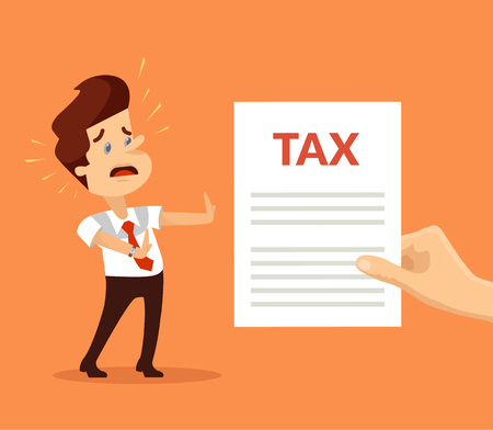Man character shocked with tax. Vector flat cartoon illustration