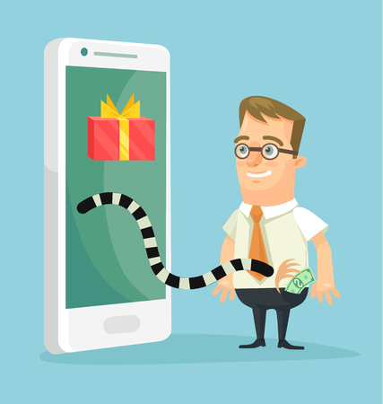 scammer: Online cheating. Thief character trying steal money from victim character. Vector flat cartoon illustration