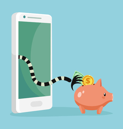 scammer: Online cheating. Thief character trying steal money from piggy bank victim character. Vector flat cartoon illustration Illustration