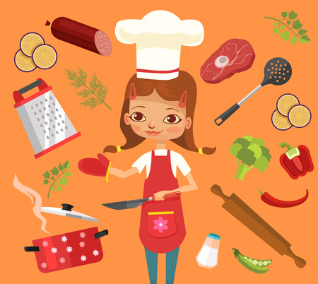 cooking time: Cooking time. Girl character cook. Vector flat cartoon illustration