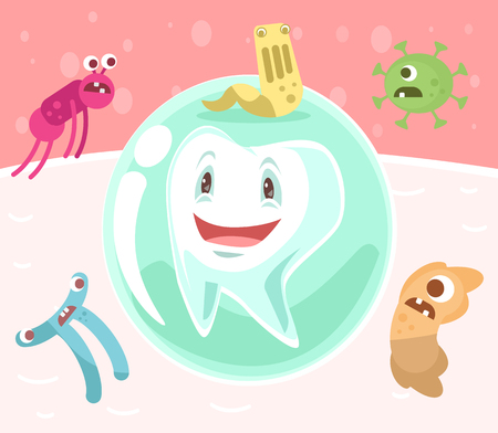 unhygienic: Tooth character in protective bubble. Germs characters attack. Vector flat cartoon illustration