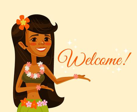 up skirt: Hawaiian dancer girl character. Welcome banner. Vector flat cartoon illustration