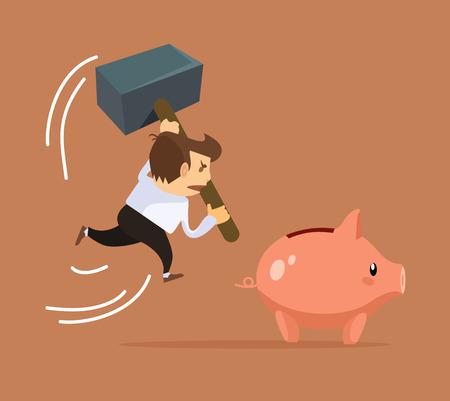 smash: Businessman character trying smash piggy bank character. Financial crisis. Vector flat cartoon illustration