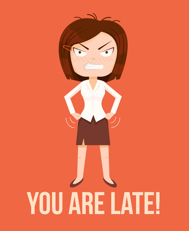 pissed off: Angry woman boss character. Lateness concept. Vector flat cartoon illustration