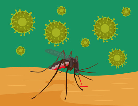 bites: Zika Virus. Mosquito bites skin. Vector flat cartoon illustration