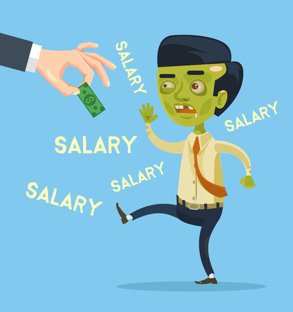 stimulus: Zombie office worker character try catch salary. Vector flat cartoon illustration