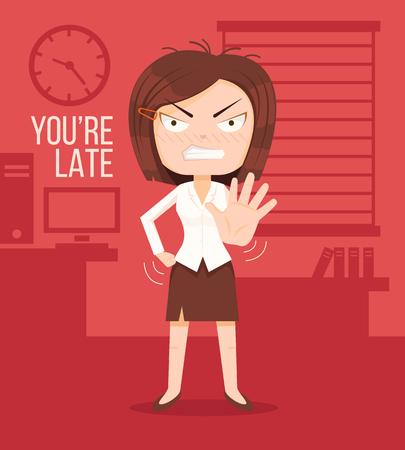 Boze werkgever vrouw karakter. Late concept. Je bent te laat titel. Vector flat cartoon illustratie Vector Illustratie