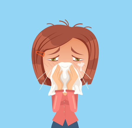 suffering: Allergy woman character sneeze. Vector flat cartoon illustration