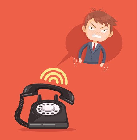 reprimand: Angry office man character call. Vector flat cartoon illustration