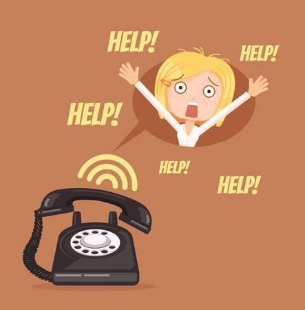 telefono caricatura: mujer carácter necesitan ayuda. Vector ilustración de dibujos animados plana