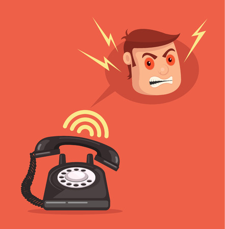 scold: Angry office man head character call. Vector flat cartoon illustration Illustration