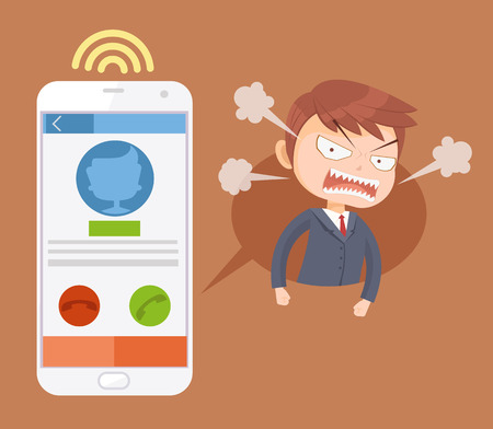 complain: Angry office man boss character call. Vector flat cartoon illustration