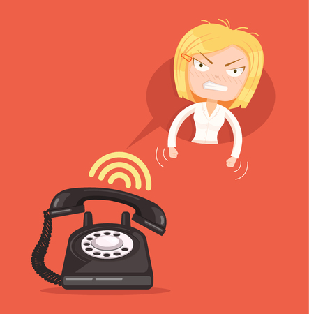 reprimand: Angry office woman character call. Vector flat cartoon illustration