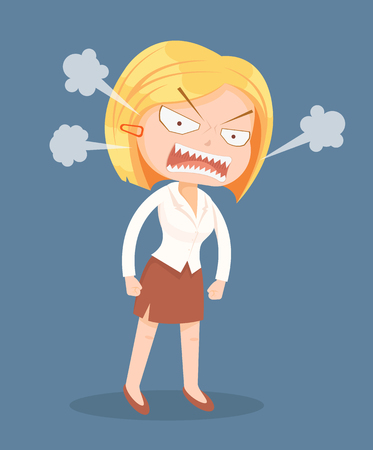 Angry screaming office worker woman character. Vector flat cartoon illustration Illustration