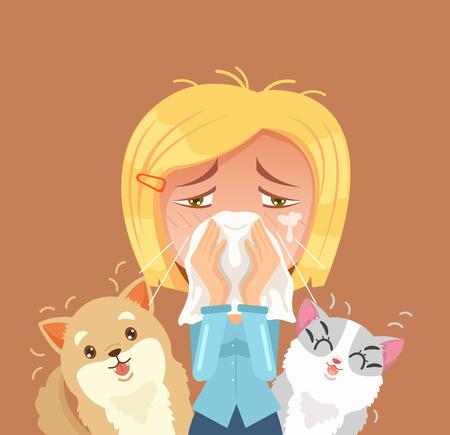 intolerancia: Alérgico a los animales domésticos. Mujer estornudo carácter. Vector ilustración de dibujos animados plana Vectores