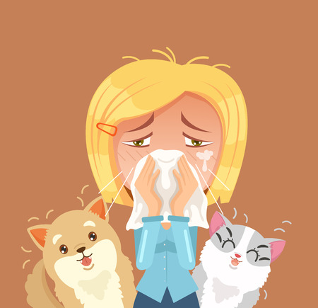 Allergic to domestic animals. Woman character sneeze. Vector flat cartoon illustration Иллюстрация