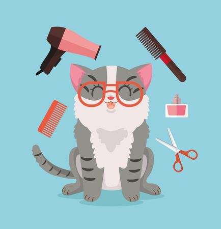 cat grooming: Cat grooming. Happy cat character. Vector flat cartoon illustration