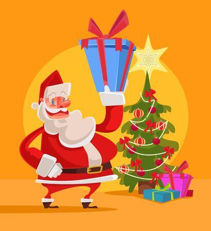 Santa Claus hold gift box with Christmas tree. Marry Christmas. Happy New Year. Vector flat cartoon illustration