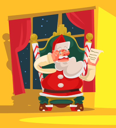 Santa Claus sitting on armchair and reading children wish list. Marry Christmas. Happy New Year. Vector flat cartoon illustration
