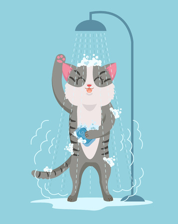 Cat character taking shower. Vector flat cartoon illustration