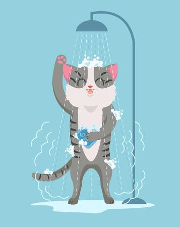 sopping: Cat character taking shower. Vector flat cartoon illustration