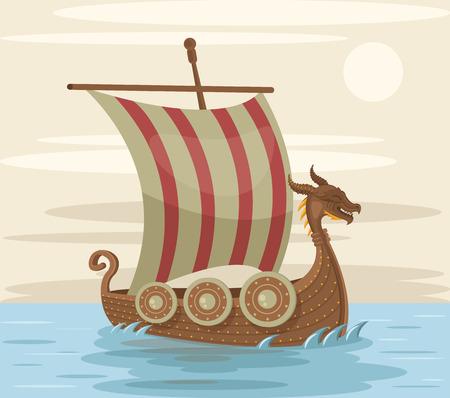 Viking ship. Vector flat cartoon illustration