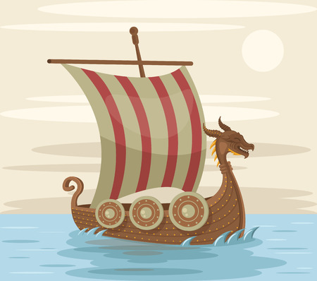 middle ages boat: Viking ship. Vector flat cartoon illustration