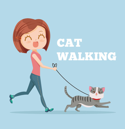 jogging: Cartoon woman running with her cat. Cat walking. Vector flat cartoon illustration Illustration