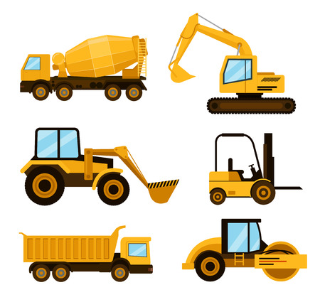 Construction cars icon set. Vector flat cartoon illustration Illustration