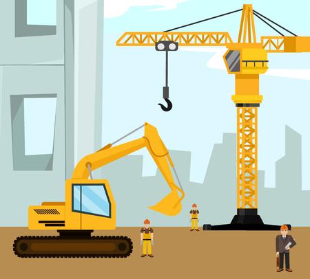 dredger: Construction and building banner. Vector flat cartoon illustration