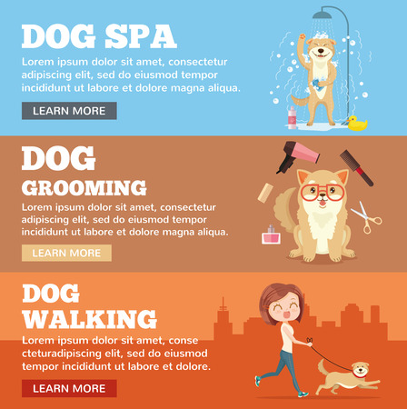 grooming: Dog grooming. Dog service. Vector flat cartoon illustration banners set