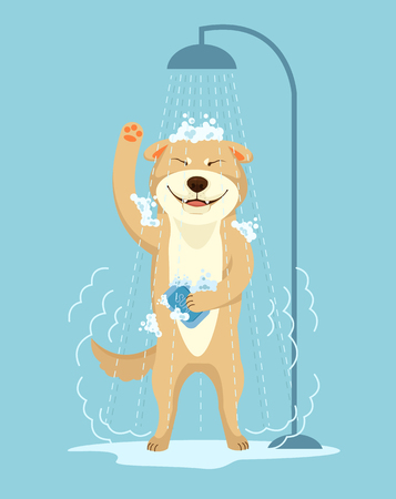 Dog take shower. Dog grooming. Dog service. Vector flat cartoon illustration Иллюстрация