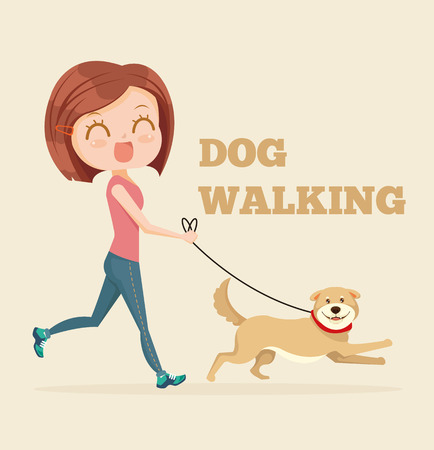 Dog walking service. Vector flat cartoon illustration