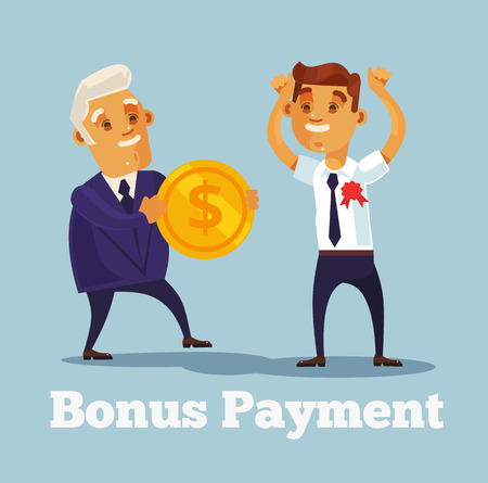 Employee worker character received bonus from boss character for good work. flat cartoon illustration