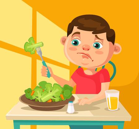 어린이 캐릭터는 브로콜리를 먹고 싶지 않습니다. 평면 만화 일러스트 레이션 스톡 콘텐츠 - 65234915
