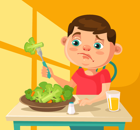 Child character does not want to eat broccoli. flat cartoon illustration Vectores