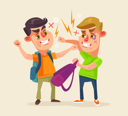 Schoolboys characters fighting. flat cartoon illustration Stock Vector - 65234913