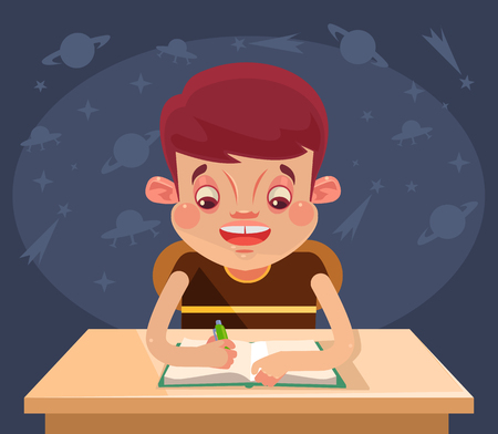 Girl Daydreaming While Doing Homework Royalty Free Cliparts