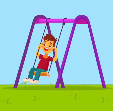 swinging: Little boy character swinging on swing. flat cartoon illustration Illustration