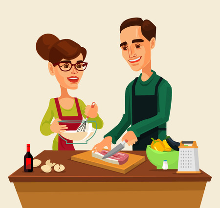 Couple man and woman characters preparing food together. flat cartoon illustration Illustration