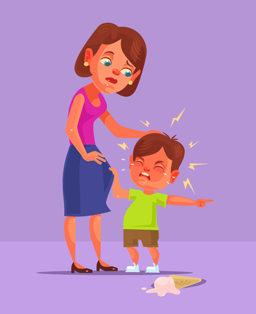 Bad boy child character demand and cry.  flat cartoon illustration