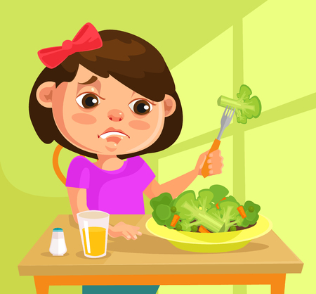 want: Child girl character does not want to eat broccoli. flat cartoon illustration
