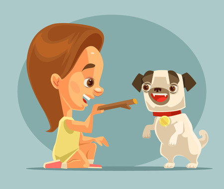 fondle: Little girl child character training dog puppy character with bone. Best friends. flat cartoon illustration Illustration