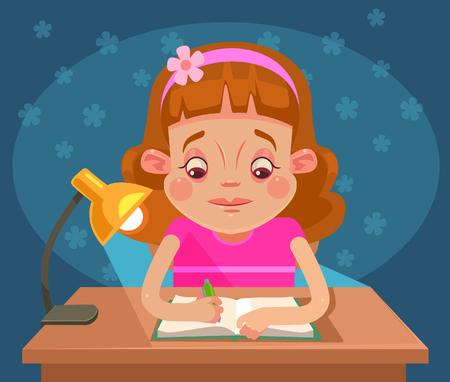 小さな女の子子文字が宿題します。フラット漫画イラスト  イラスト・ベクター素材