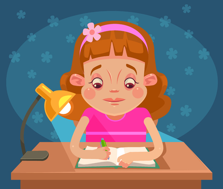 Little girl child character doing homework. flat cartoon illustration