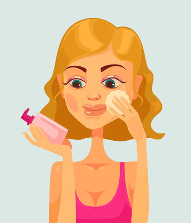 clean up: Girl character remove make up. flat cartoon illustration