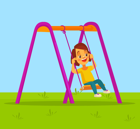 swinging: Little girl character swinging on swing. flat cartoon illustration