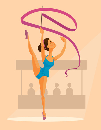 Woman gymnast character with ribbon. flat cartoon illustration