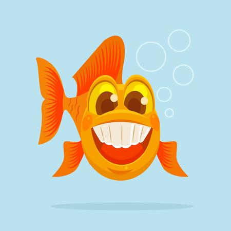 smile happy: Happy goldfish character smile.  flat cartoon illustration